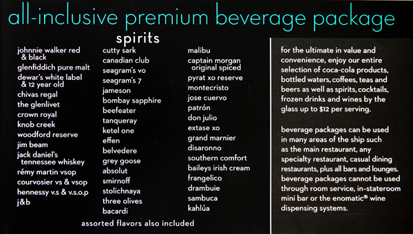 Celebrity Standard Drink Package - Celebrity Cruises ...
